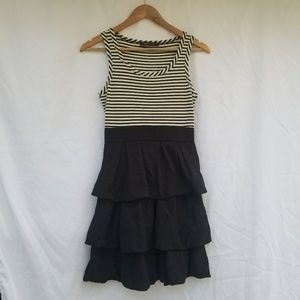 BCBGMaxAzria mini dress black ruffle white stripe